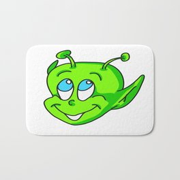 Extraterrestrial smiling child face Bath Mat