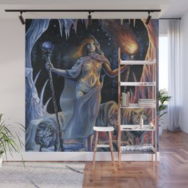 Two of Wands - Woman & Wolves Wall Mural