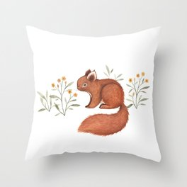 Furry Squirrel Throw Pillow