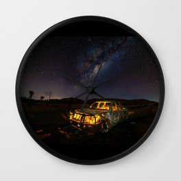 Burnt Truck Under Australian Milky Way Wall Clock