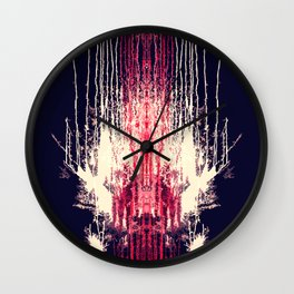 Pink and Navy Blue Abstract Watercolor Pain Drips Wall Clock