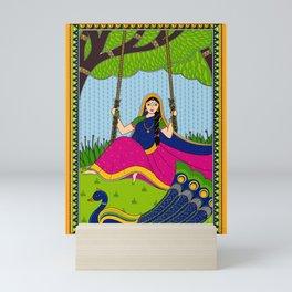 Indian Art Girl on Swing Mini Art Print