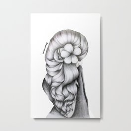 Black & White Pencil Sketch - Wavy Hair Flower Girl Metal Print