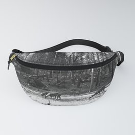 Deer Grazing Peacefully in a Woodland Glade (Black and White) Fanny Pack
