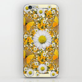 MONTAGE WHITE DAISIES  GREEN FROGS & BUTTERFL IES iPhone Skin