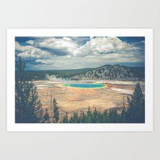 Water - Rainbow Prismatic Hot Spring Yellowstone National Park Art Print