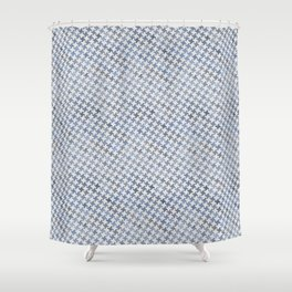 MODERN HOUNDSTOOTH (BLUE), hand-painted by Frank-Joseph Shower Curtain