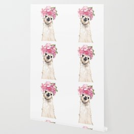 Llama with Beautiful Flowers Crown Wallpaper