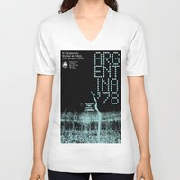 world cup V-neck T-shirts featuring World Cup: Argentina 1978 by James Campbell Taylor