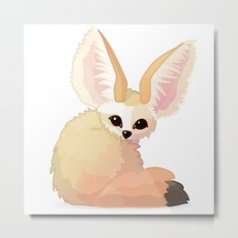 cute fennec foxes. Vector graphic character Metal Print