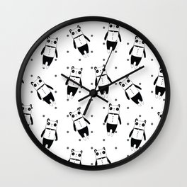 Black and white panda dotted pattern Wall Clock