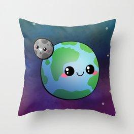 Kawaii Earth & Moon Throw Pillow