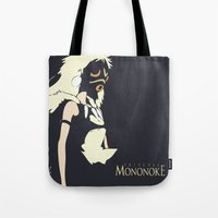 princess mononoke Tote Bags featuring Princess Mononoke by Studio Momo╰༼ ಠ益ಠ ༽