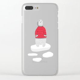 Standing Polar Bear in Sweater Clear iPhone Case