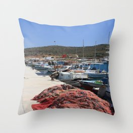 Red Fishing Net and Fishing Boats in Datca Throw Pillow