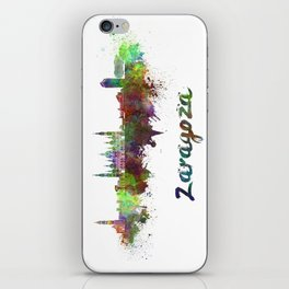 Zaragoza skyline in watercolor iPhone Skin