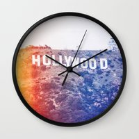 hollywood Wall Clocks featuring Hollywood by Laura Ruth