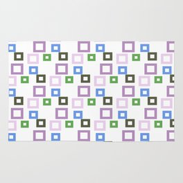 Geometrical lilac lavender blue forest green squares pattern Rug