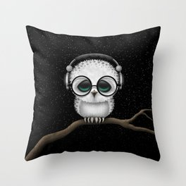Cute Baby Owl Dj with Headphones and Glasses Throw Pillow