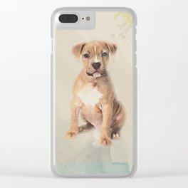 American staffordshire terrier puppy Sketch Paint Clear iPhone Case