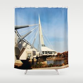 Esplanade Riel Suspension Bridge Shower Curtain