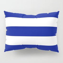 Phthalo blue - solid color - white stripes pattern Pillow Sham