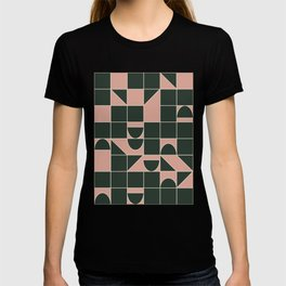 Modern Squares and Shapes in Earthy Blush Pink and Forest Green T-shirt