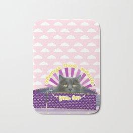 Think outside your box - positive motivation cat art Bath Mat