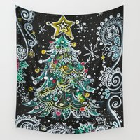 christmas tree Wall Tapestries featuring Christmas Tree by Teri Newberry