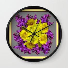 Decorative Purple Daffodil  Floral Black-Grey Art Wall Clock