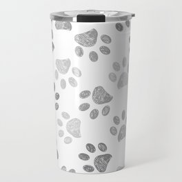Black and grey paw print pattern Travel Mug