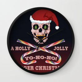 Holly Jolly Roger Xmas Wall Clock