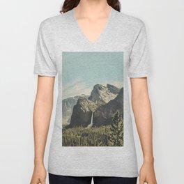 Yosemite Valley Waterfall Unisex V-Neck