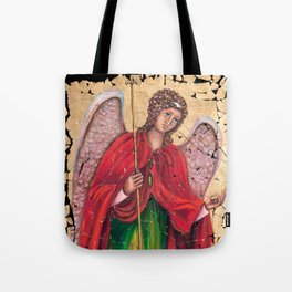 Archangel Gabriel Fresco With A Crackled Finish for #Society6 Tote Bag
