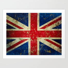 Grunge Scratched Metal Union Jack / British Flag Art Print