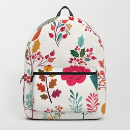 Autumn pink orange teal hand painted floral berries holly leaves Backpack