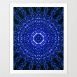 Dark blue mandala Art Print
