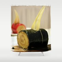 cake Shower Curtains featuring CAKE by habish