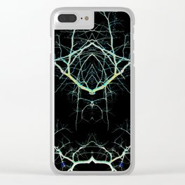 Neon Mirrored Trees 7 Clear iPhone Case