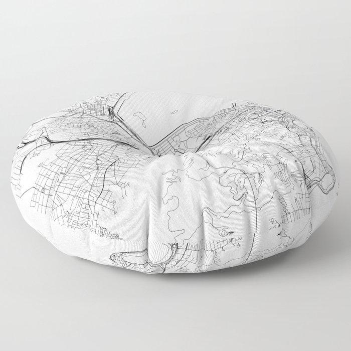 Rio De Janeiro White Map Floor Pillow