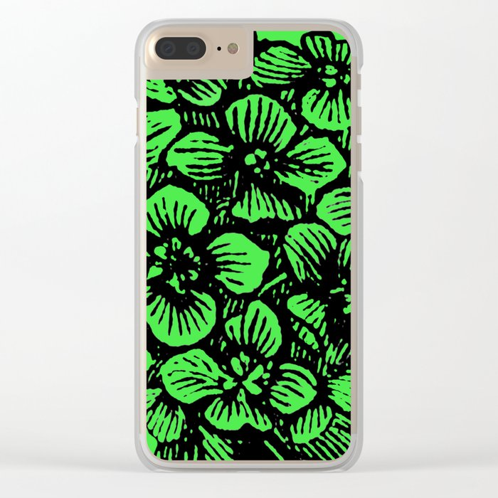 Green Hydrangea Clear iPhone Case