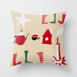 Christmas Cosy Ivory Throw Pillow