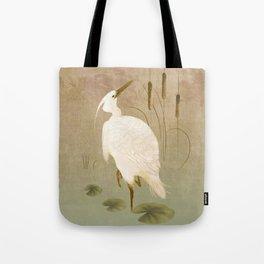 White Heron in Bulrushes Tote Bag