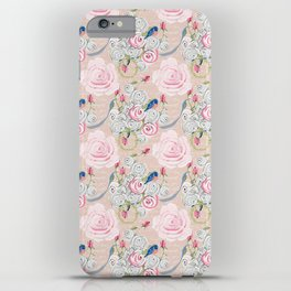 Watercolor Roses and Blush French Script iPhone Case