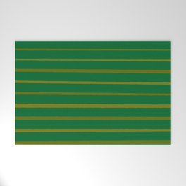 Emerald Green and Honey Gold Thin Stripes Welcome Mat