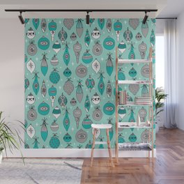 Ornaments christmas vintage classic turquoise and white hand drawn christmas tree ornament pattern Wall Mural