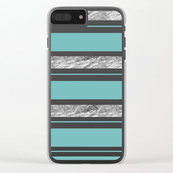 Aqua Blue Stripe with Silver Clear iPhone Case