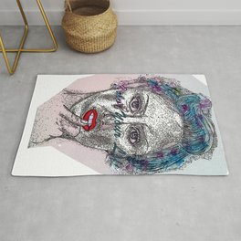 A Colorful Face of An Woman Rug