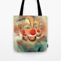 clown Tote Bags featuring clown by robotrake