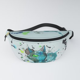 Wild blue grunge cat Fanny Pack